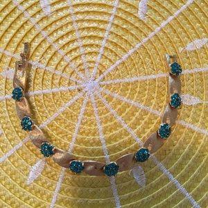 Jewelry - Costume bracelet. Green stones, gold finish